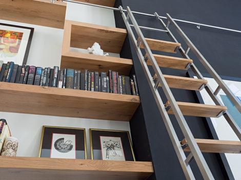 custom built in bookshelves with rolling ladders phoenix, az