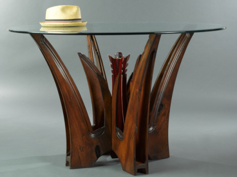 transitional dining table made from alder wood with glass top by paul rene furniture and cabinet phoenix scottsdale az