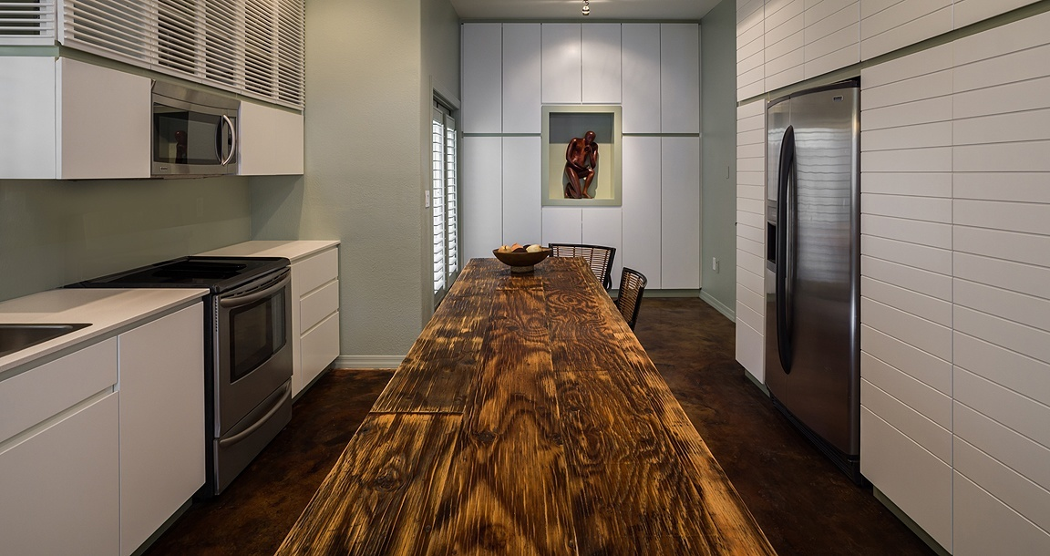 contemporary painted kitchen cabinets with reclaimed barn wood countertops by paul rene custom furniture and cabinets phoenix scottsdale az
