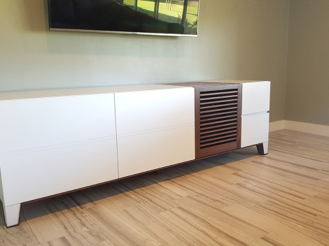 custom media consoles painte white with walnut wood by paul rene furniture and cabinets phoenix scottsdale az