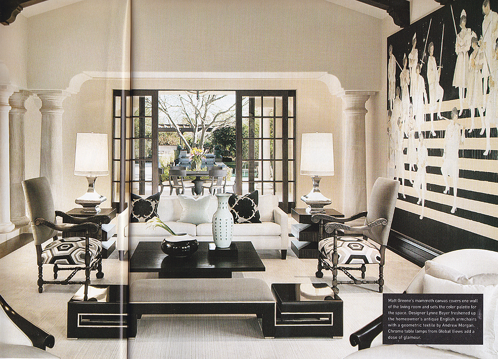 luxe magazine featuring black oak coffee table by paul rene furniture and cabinetry phoenix scottsdale az