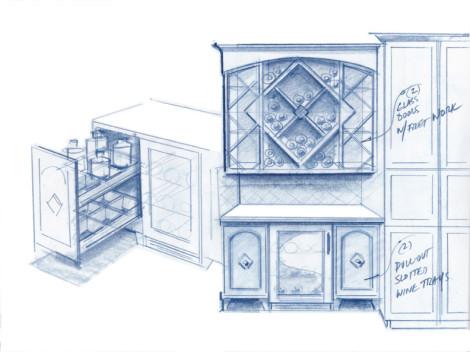 kitchen cabinet wine lattice bar by designer paul jeffrey of paul rene furniture and cabinets phoenix - scottsdale az