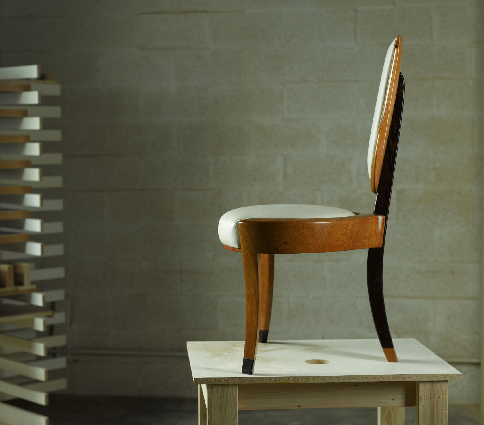 ... Vanity Chairs Contemporary Wood With Leather Upholstery Three Legs By  Paul Rene Furniture And Cabinets Phoenix ...