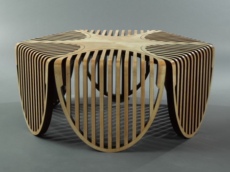 Araignee contemporary coffee table side view by paul rene custom furniture and cabinetry