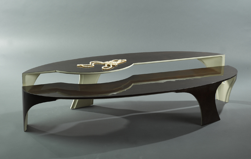 Modern Lacquered Coffee Table With Stained Top And Painted Underside By  Paul Rene Furniture And Cabinets ...