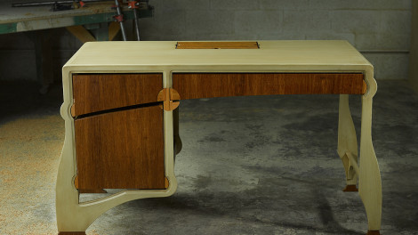 painted writers desk with bamboo by designer paul jeffrey of paul rene furniture phoenix az