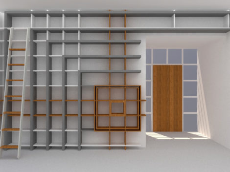 BUTTRICK custom painted contemporary library with stainless steel ladder. Rift Cut Oak focal point.