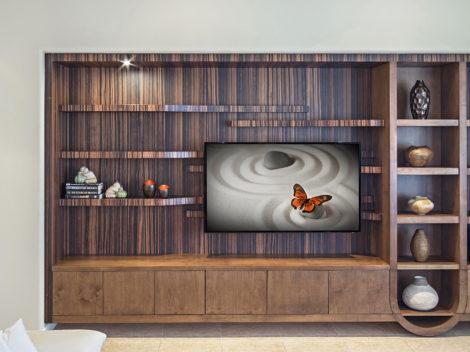 Custom designed modern entertainment center by paul rene furniture and cabinetry phoenix az_