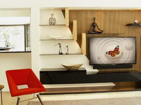 MODERN custom entertainment unit high gloss by paul rene furniture and cabinets phoenix az