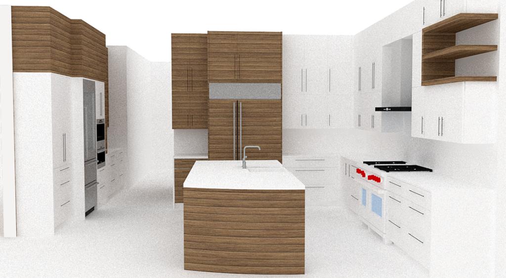 Desert Modern Kitchen With Rift Cut Oak And High Gloss Cabinets. Curved  Island.
