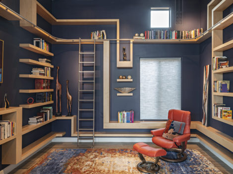 contemporary custom libraries with rolling ladders-maple wood with floating shelves and stainless steel ladder by paul rene furniture and cabinetry phoenix az