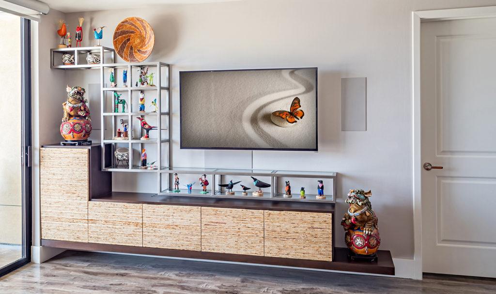 custom floating media cabinet wood mixed meta