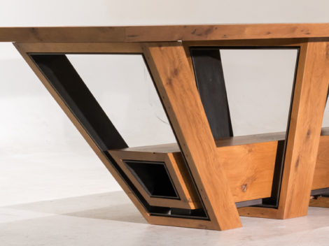 Custom Industrial Rustic Furniture handmade white oak mixed with antique black steel by paul rene phoenix az