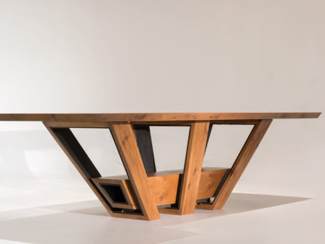 custom industrial rustic dining table white oak and anitique steel by paul rene furniture and cabinetry