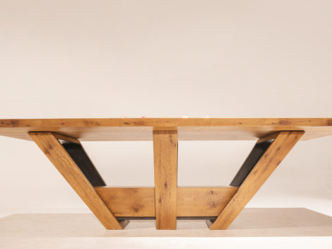 custom industrial rustic dining table white oak and anitique steelside view by paul rene furniture and cabinetry