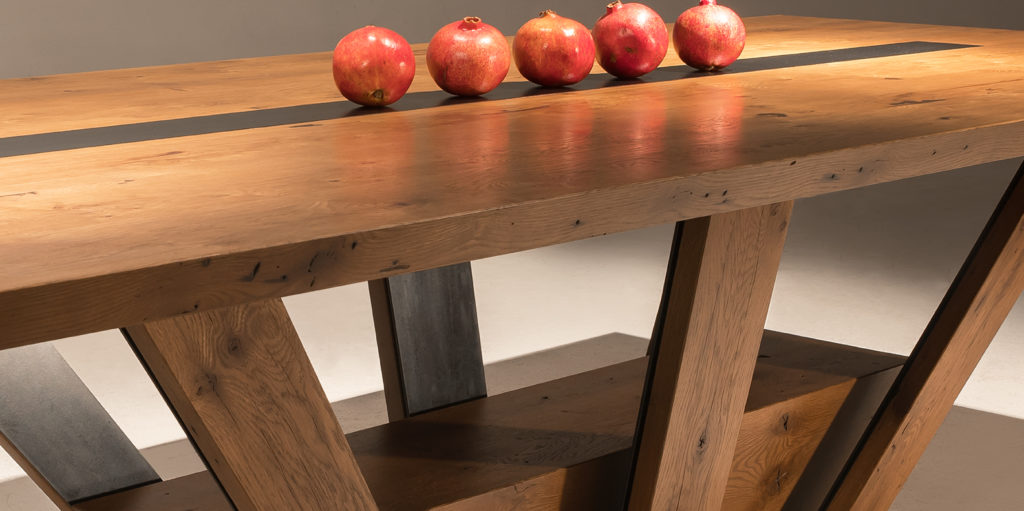 Rustic Dining Table With White Oak And Steel Bands By Paul Rene Furniture Cabinetry