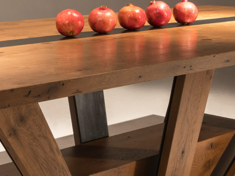 industrial rustic dining table with white oak and steel bands by paul rene furniture and cabinetry phoenix az