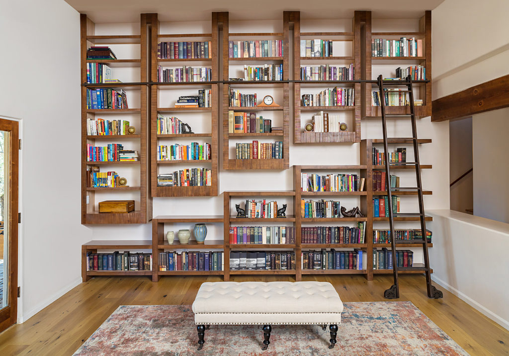 alder rustic custom libraries with rolling ladders_rustic by paul rene furniture and cabinets phoenix az