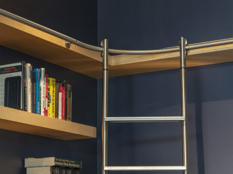 shumway contemporary maple library with stainless steel ladder
