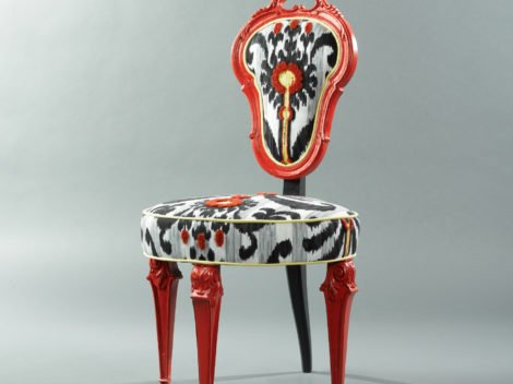 spanish guitar dining chair rear view by paul rene furniture and cabinetry phoenix az
