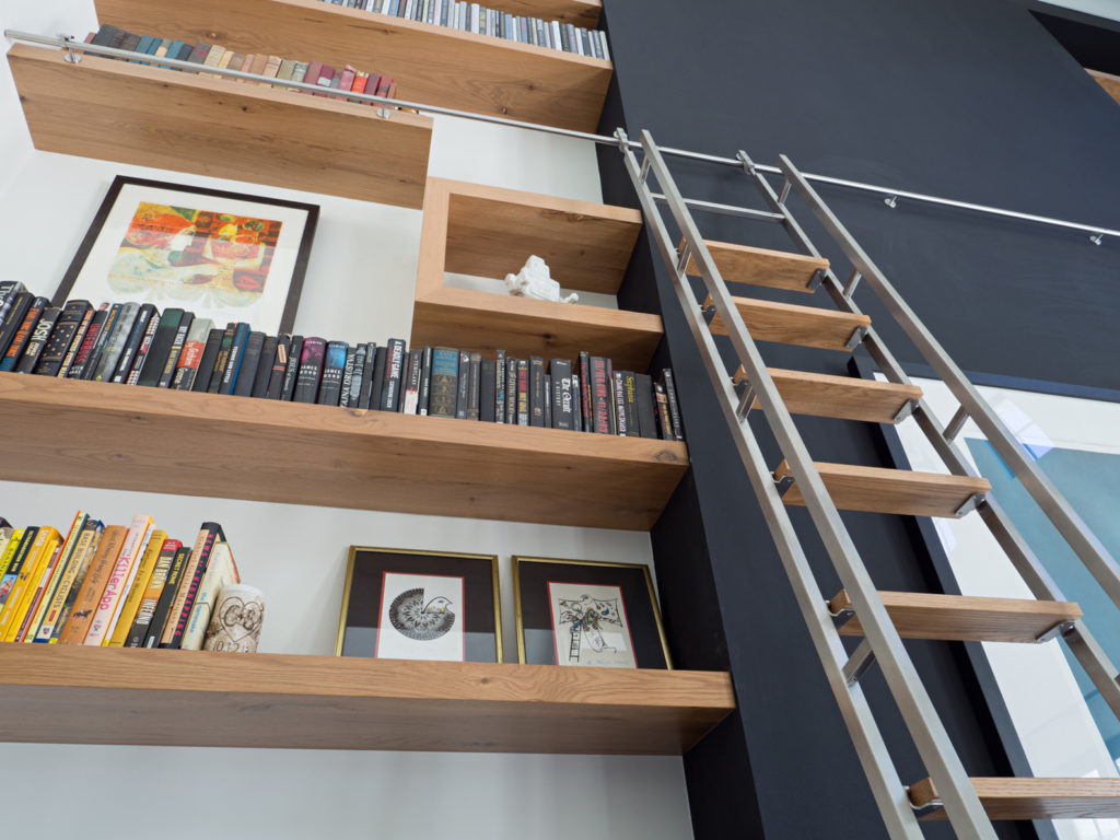 White Oak Rustic Floating Shelving Unit With Stainless